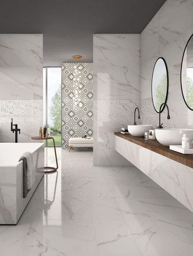 Collezione trilogy pavimenti e rivestimenti panaria - Bagno effetto marmo ...