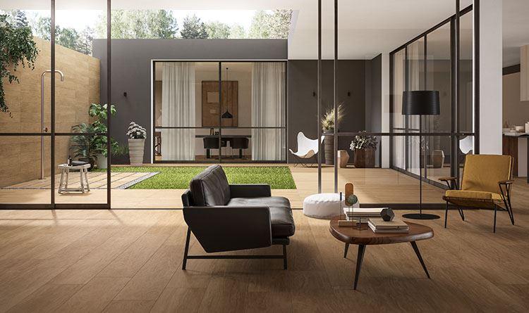 Il soggiorno contemporaneo è open space panaria ceramica